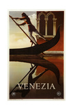 Venezia Venice Man Rowing Gondola Giclée-Druck