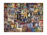 World Bicycle Tour Collage Giclée-tryk