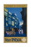 A Street by Moonlight - Visit India Impressão giclée