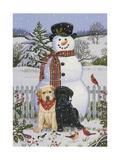Backyard Snowman with Friends Giclee Print by William Vanderdasson