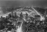 Aerial View of New York City, at Night Impressão fotográfica