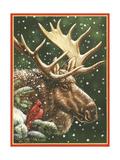 Winter Moose Reproduction procédé giclée par William Vanderdasson