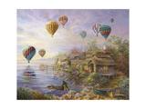 Air Balloons over Cottageville Reproduction procédé giclée par Nicky Boehme