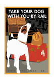 Dog by Rail Giclee Print