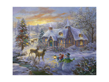 Christmas Cottage Giclee Print by Nicky Boehme