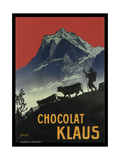 Chocolat Klaus Mountains Switzerland 1910 Giclée-vedos
