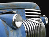 Chevy Grill Blue Stretched Canvas Print by Larry Hunter