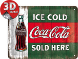 Coca-Cola Tin Sign - Ice Cold Sold Here Plaque en métal