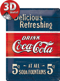Coca-Cola Tin Sign - Delicious Refreshing Blue Plaque en métal