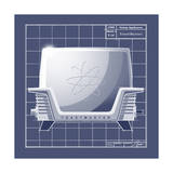 Galaxy Toaster - Blueprint Giclee Print by Larry Hunter