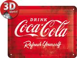 Coca-Cola Tin Sign - Logo Red Refresh Yourself Plaque en métal