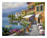 Seaside Bistro Café Print by Sung Kim