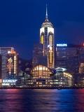 Convention Centre at Night, Victoria Harbor, Wanchai, Hong Kong, China Photographic Print by Dallas and John Heaton