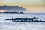 Evening Rowing in the Bay of Apia, Upolu, Samoa, South Pacific, Pacific Fotografisk trykk av Michael Runkel