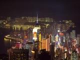 Central Plaza Building, Victoria Harbor, Wanchai, Hong Kong, China Photographic Print by Dallas and John Heaton