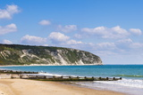 Swanage Beach and White Cliffs, Dorset, Jurassic Coast, England, United Kingdom, Europe Fotografisk trykk av Matthew Williams-Ellis