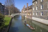 Mathematical Bridge, Connecting Two Parts of Queens College, with Punters on the River Beneath Photographic Print by Charlie Harding
