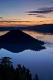 Crater Lake and Wizard Island at Dawn, Crater Lake National Park, Oregon, Usa Photographic Print by James Hager