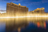 Bellagio and Caesars Palace Reflections at Dusk with Fountains, the Strip, Las Vegas, Nevada, Usa Photographic Print by Eleanor Scriven