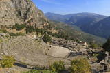 Theatre at Delphi, UNESCO World Heritage Site, Peloponnese, Greece, Europe Fotografisk trykk av Eleanor Scriven
