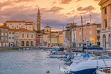 Old Town Harbour, Church of St. George (Cerkev Sv. Jurija) in Background, Piran Photographic Print by Alan Copson