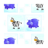 Zebra and Hippos Pattern Giclee Print