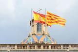 Flag of Spain and Catalonia, Barcelona, Spain Fotografisk trykk av  jiawangkun