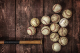 Old Vintage Baseball Background. Fotoprint van  soupstock