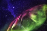 Starry Evening with the Aurora Borealis or Northern Lights and the Milky Way Galaxy, Abisko Fotografisk tryk
