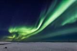 Aurora Borealis or Northern Lights, Iceland, Power Lines by the Jokulsarlon Fotografisk tryk af Green Light Collection
