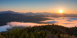 Sunrise over the Adirondack High Peaks from Goodnow Mountain, Adirondack Park, New York State, USA Stampa fotografica