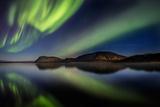 Aurora Borealis or Northern Lights at Lake Thingvallavatn, Thingvellir National Park Fotografie-Druck
