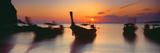 Fishing Boats in the Sea, Railay Beach, Krabi, Krabi Province, Thailand Lámina fotográfica