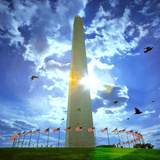 Low Angle View of the Washington Monument, the Mall, Washington Dc, USA Photographic Print by Green Light Collection