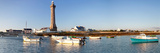 Boats in the Sea with a Lighthouse in the Background, Phare D'Eckmuhl, Penmarc'H, Finistere Reproduction photographique