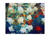 White Blossoms Colorful Garden Poster di Alaya Gadeh