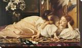 Mother and Child Opspændt lærredstryk af Frederick Leighton