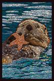 Sea Otter - Paper Mosaic Lámina giclée prémium por  Lantern Press