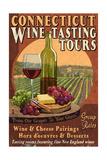 Connecticut - Wine Tours Vintage Sign Affiches par  Lantern Press