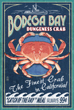 Bodega Bay, California - Dungeness Crab Vintage Sign Kunst af  Lantern Press