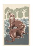 River Otters - Woodblock Print Kunstdrucke von  Lantern Press