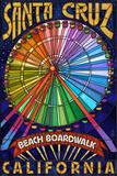 Santa Cruz, California - Beach Boardwalk Ferris Wheel Plakater af  Lantern Press