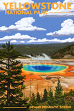 Yellowstone National Park - Grand Prismatic Spring Stampe di  Lantern Press