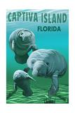 Captiva Island, Florida - Manatees Poster von  Lantern Press