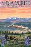 Mesa Verde National Park, Colorado - Bear Family and Flowers Póster por  Lantern Press