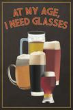 At My Age - Beer Glasses Premium Giclée-tryk af  Lantern Press