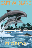Captiva Island, Florida - Dolphins Swimming Kunstdrucke von  Lantern Press