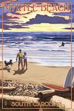 Myrtle Beach, South Carolina - Beach Walk and Surfers Poster von  Lantern Press