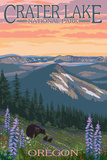 Crater Lake National Park, Oregon - Spring Flowers and Bear Family Art by  Lantern Press