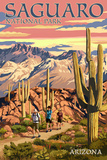 Saguaro National Park, Arizona - Hiking Scene Art by  Lantern Press